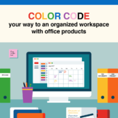 Color code your way to an organized workspace with office products