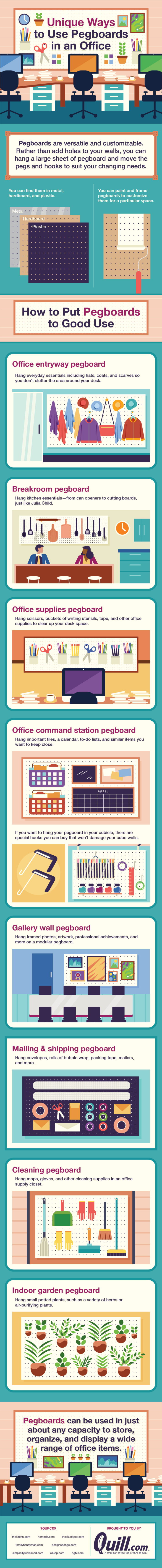 Unique ways to use pegboards in an office