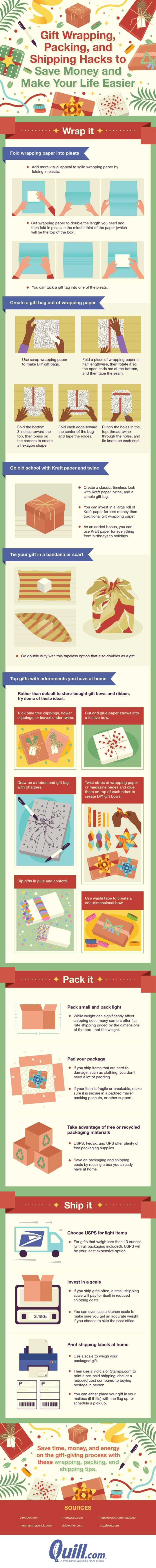 Gift wrapping, packing, and shipping hacks to save money and make your life easier