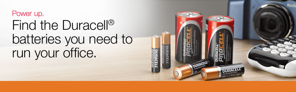 Power up. Find the Duracell<sup>&reg;</sup> batteries you need to run your office.
