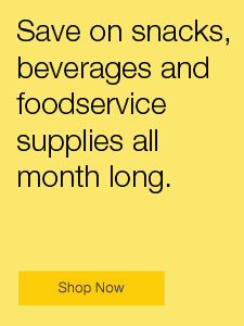 Save on snacks, beverages and foodservice supplies all month long.