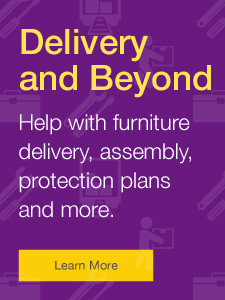 Free full service furniture delivery and set up when you spend $1000 or more on furniutre