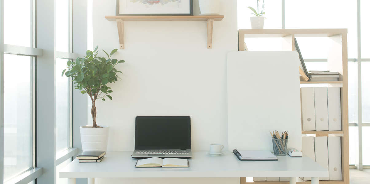 Tidy workspace with wooden shelves, plant, and laptop.