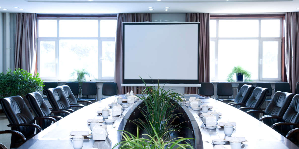 Curved boardroom table next to indoor plants and large windows