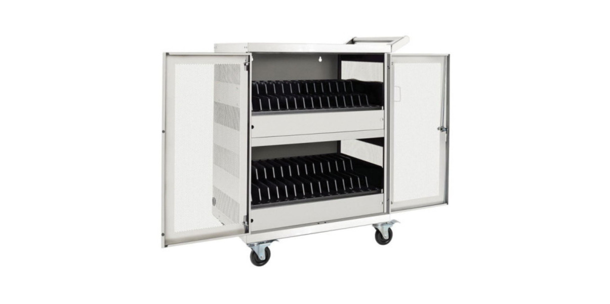 Tripp Lite<sup>®</sup> White Steel 32-Device AC Charging Station Cart