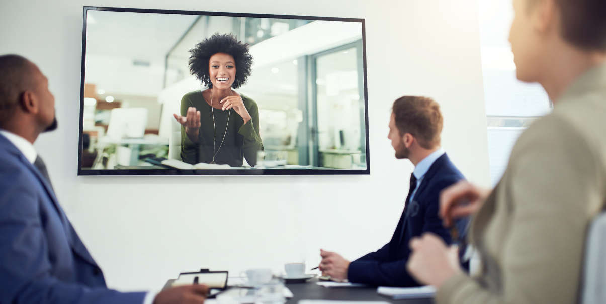 Videoconferencing in a bright modern workplace