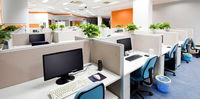 Office with cubicles.