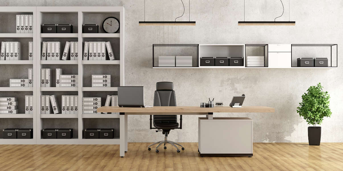 Modern office with a black and white color scheme
