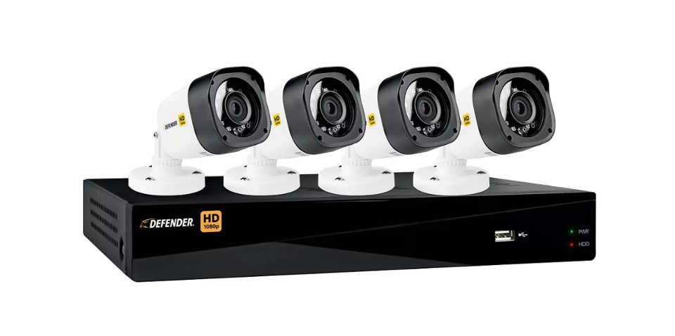 Defender HD 1080p 8 Channel 1TB DVR Security System and 4 Bullet Cameras with Web and Mobile Viewing.