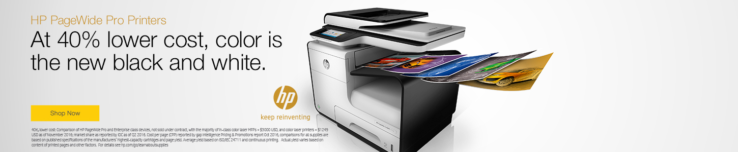 hp pagewide pro printers at 40 lower cost color is the new black and