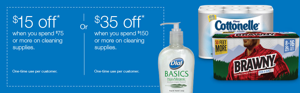 Instant coupon when you buy cleaning supplies.