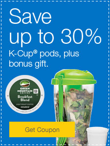 Save up to 30% on K-Cup® pods, plus bonus gift.