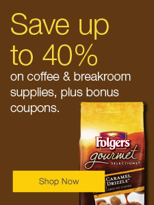 Up to 40% off coffee & breakroom supplies, plus bonus coupons.