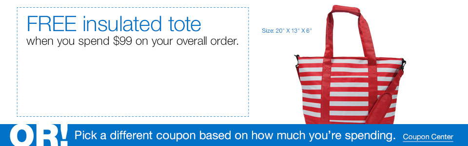 FREE insulated tote when you spend $75 on your overall order.