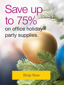 Celebration season is here. Save up to 75% on office holiday party supplies.