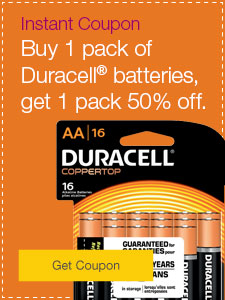 Buy 1 pack of Duracell® batteries, get 1 pack 50% off.
