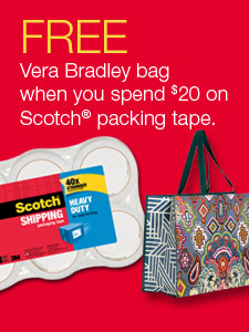 FREE Vera Bradley bag when you spend $20 on Scotch® packing tape.