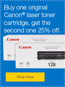 Buy one Orginal Canon toner cartridge and get the second one 25% off