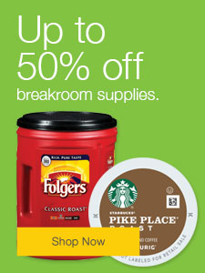 Up to 50% off breakroom supplies.
