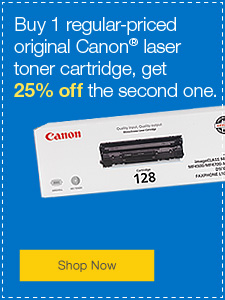 Buy 1 regular-priced original Canon® laser toner cartridge, get 25% off the second one.