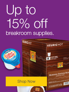 Up to 15% off breakroom supplies.