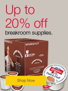 Up to 20% off breakroom supplies.