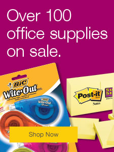 Over 100 office supplies on sale.