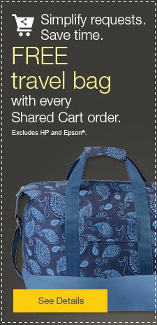 Simplify requests.  Save time.  FREE travel bag with every Shared Cart order.