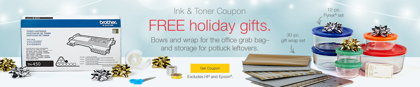 Attirant Ink U0026 Toner Coupon. FREE Holiday Gifts! Bows And Wrap For The Office Grab