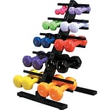 Vinyl Coated Cast Iron Dumbbells w/Flr Rack