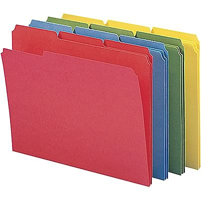 File Folders, 1/3 Cut, Double-Ply Top Tabs, Letter, Assorted, 12/pk