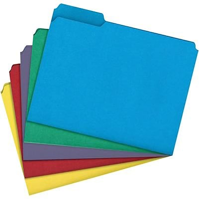 Quill Brand® Heavy-Duty File Folders, Assorted Tabs, 1/3-Cut, Letter Size, Assorted Colors, 50/Box (75000AD)