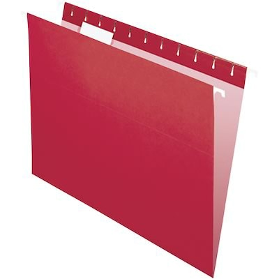 Quill Brand® Colored Hanging File Folders; 1/5-Cut Tabs, Letter Size, Red, 25/BX