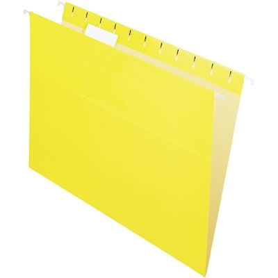 Quill Brand® Colored Hanging File Folders; 1/5-Cut Tabs, Letter Size, Yellow, 25/BX