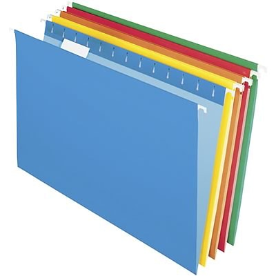 Quill Brand® Colored Hanging File Folders; 1/5-Cut Tabs, Legal Size, Assorted Colors, 25/BX