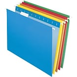 Quill Brand® 5-Tab Colored Hanging File Folders, Letter, Assorted, 25/Bx (7387QAD)