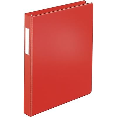Quill Brand® 1 D-Ring Binder with Label Holder; Non-View, Red, 3-Ring