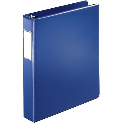 Quill Brand® 1-1/2 D-Ring Binder with Label Holder; Non-View, Dark Blue, 3-Ring