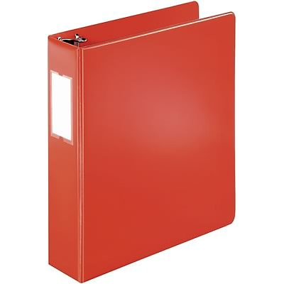 Quill Brand® 2 D-Ring Binder with Label Holder; Non-View, Red, 3-Ring