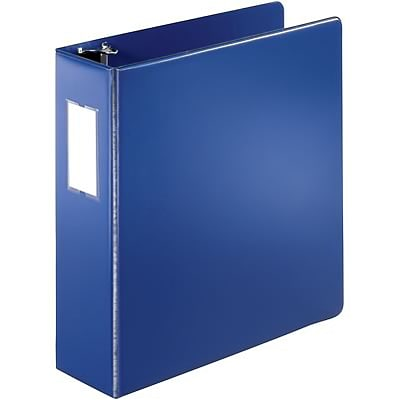 Quill Brand® 3 D-Ring Binder with Label Holder; Non-View, Dark Blue, 3-Ring