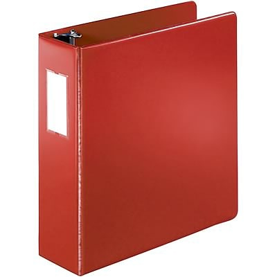Quill Brand® 3 inch, D-Ring, Label Holder, Non-View Binder, Red (758904)