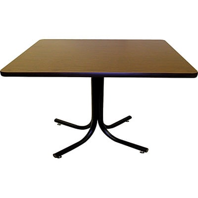 MLP Cafeteria/BreakroomTable; 36 Square Walnut Top, Black Base