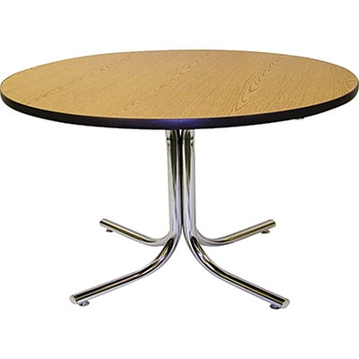 MLP Cafeteria/Breakroom Tables; 36 Round Oak Top, Chrome Base