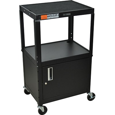 Luxor® Adjustable-Height Steel Multi-Media Cart with Cabinet