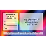 Dual-Imprint Sticker Appt Card;Blue Tie Dye