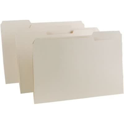 Quill Brand® Premium Manila File Folders; 11pt Heavy-weight, 1-Ply, 1/3-Cut Assorted Tabs, Legal Size, 100/BX