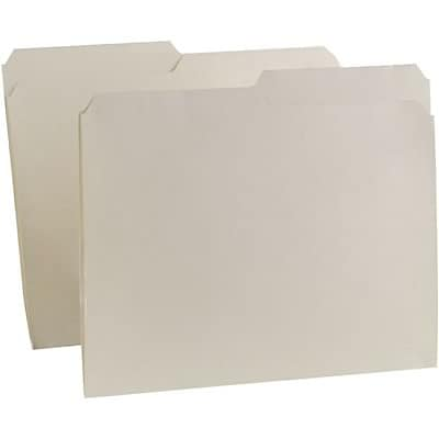 Quill Brand® Premium Manila File Folders; 11pt Heavy-weight, 2-Ply, 1/2-Cut Assorted Tabs, Letter Size, 100/BX