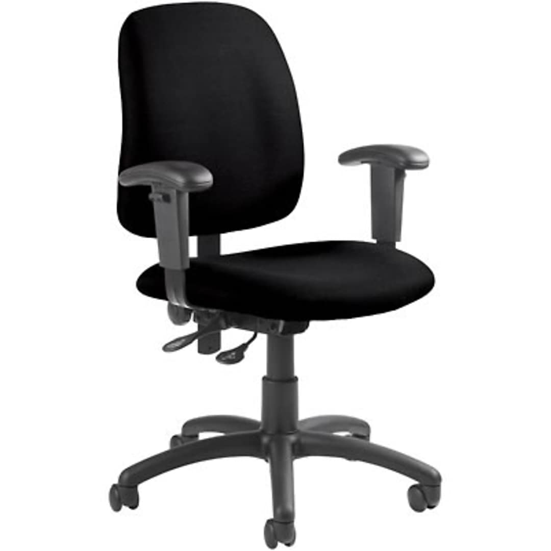 Global® Goal Low Back Operator Chair with Arms; Black