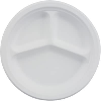 Chinet® Classic Paper Plates; Three Compartments, 10-1/4 Diameter, 500/Case