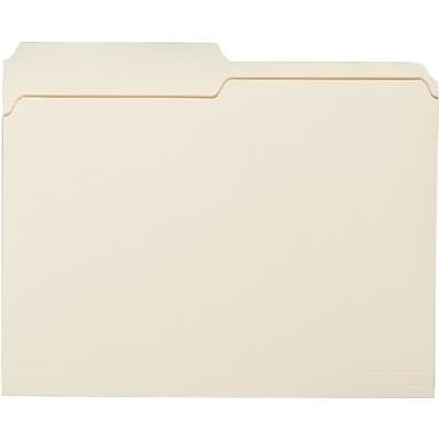 Quill Brand® Economy 2-Tab File Folders, Letter, Assorted Tabs, Manila, 100/Bx (730135)